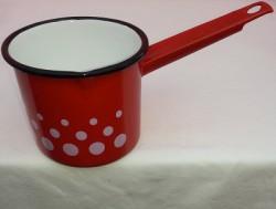 steelpan - rood & witte stippen - 750 ml - met tuitje