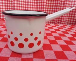steelpan - wit & rode stippen - 750 ml - met tuitje