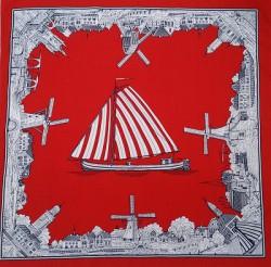 Rode zakdoek - zeilboot & molens - 52 x 52 cm