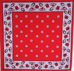 Rode zakdoek - bloemetjes - 52 x 52 cm