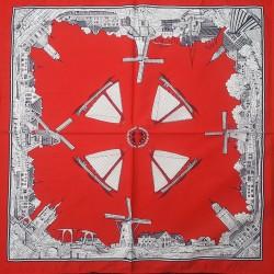 Rode zakdoek - zeilboten & molens - 52 x 52 cm