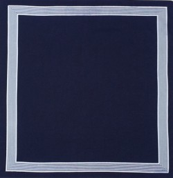 Blauwe zakdoek - wit gestreepte rand - 58 x 58 cm