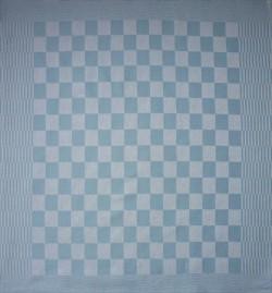 theedoek/pompdoek - lichtblauw geblokt - 65 x 65 cm