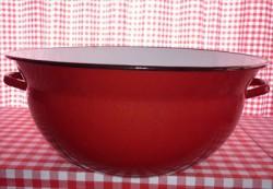 Teil / kom met oor - rood & spikkeltjes  - 30 liter