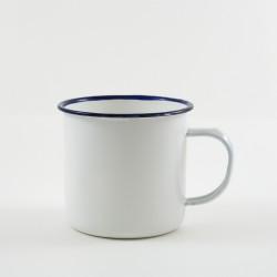drinkmok - wit met zwarte rand - 8 cm