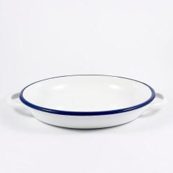 serveerbord - wit met donkerblauwe rand - 24 cm