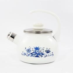 fluitketel - wit & blauwe bloemen - 2 liter