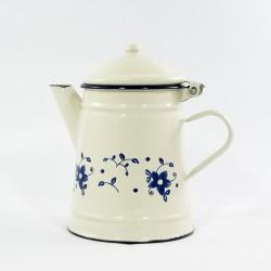 koffiekan - creme & blauwe bloemen - 1 liter