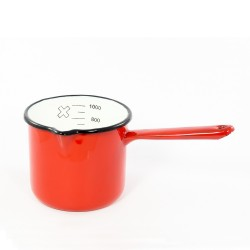 maatbeker/steelpan - rood & spikkeltjes - 1 liter